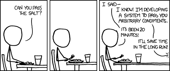 XKCD: over-engineering: https://xkcd.com/974/